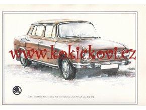 ŠKODA 110 LUX SPORT - REKLAMNÍ KRESBA REPRODUKCE - VLADIMÍR BIDLO - 1972