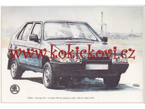 ŠKODA FAVORIT TYP 136 L - REKLAMNÍ KRESBA REPRODUKCE - VLADIMÍR BIDLO - 1987