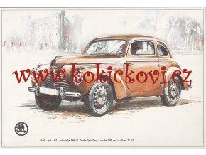 ŠKODA 1101 R.V. 1946-51 - REKLAMNÍ KRESBA REPRODUKCE - VLADIMÍR BIDLO - 1968
