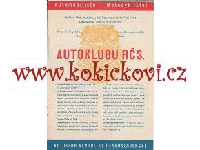 AUTOKLUB RČS - REKLAMNÍ PLAKÁTEK ROZMĚRY A4 -1932