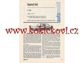 BMW 2500 AUTOMATIC A 2800 TYPOVÝ LIST - 4 STRANY A4