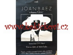 JOAN BAEZ - PLAKÁT A1 - SPORTOVNÍ HALA PRAHA 1990 - KONCERT - VZPOMÍNKA NA DOBY VÁCLAVA HAVLA - PRAGOKONCERT