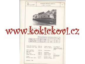 ELEKTRICKÁ NÁKLADNÍ LOKOMOTIVA TYP E 469.2 - ČSSR ŠKODA PLZEŇ - TYPOVÝ LIST