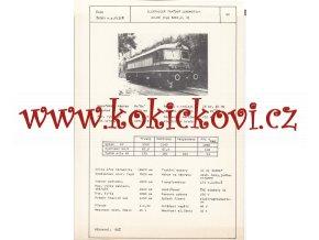 ELEKTRICKÁ TRAŤOVÁ LOKOMOTIVA E 43.00 - ČSSR ŠKODA PLZEŇ - TYPOVÝ LIST