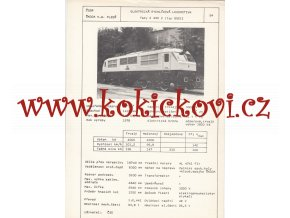 ELEKTRICKÁ RYCHLÍKOVÁ LOKOMOTIVA E 499 2 - ČSSR ŠKODA PLZEŇ - TYPOVÝ LIST