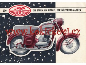 JAWA 250 ORIGINÁLNÍ BROŽURA ROK 1954 TEXT NĚMECKY - DÍRKY DO ŠANONU