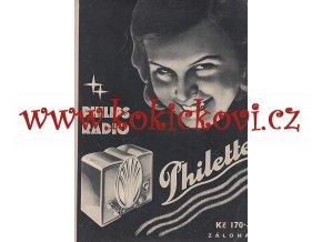 ČASOPIS EVA 6. ROČNÍK Č. 9 /1934 - ZADNÍ OBÁLKA A3 - PHILIPS 964 AS - MOTÝLEK
