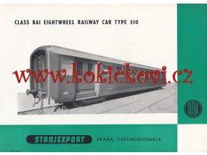 "Osobní vůz Bai ""Baika"", ""Osmidveřák"" TYP 510 - REKLAMNÍ PROSPEKT A4 - STROJEXPORT PRAHA1956"