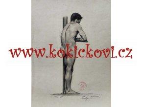 František Franta Anýž - Velká originální kresba, uhel, dat. 1896, celkový rozměr 54,5 x 38,5 cm, signováno
