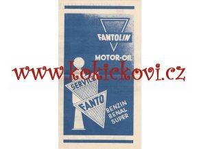 Autoklub Republiky československé - 193? - mapa průjezdů Prahou plus reklama FANTOLIN MOTOR OIL BENZIN