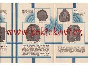 Reklamní katalog prospekt rádia Philips 14 - 1933 - Philips 672 A - 830 A - reproduktor 2119 atd.