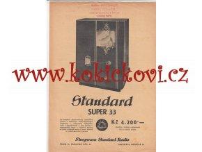 Reklamní prospekt radio Tungsram Standard Super 33 - A4 - 1 list, 2 strany