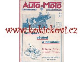 ČASOPIS AUTO MOTO - LEDEN 1929 - 1 ČÍSLO - 22 STRAN