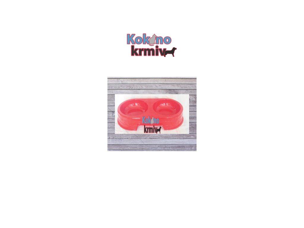 Miska plast-DVOJITÁ-č.2-2x300ml - červená
