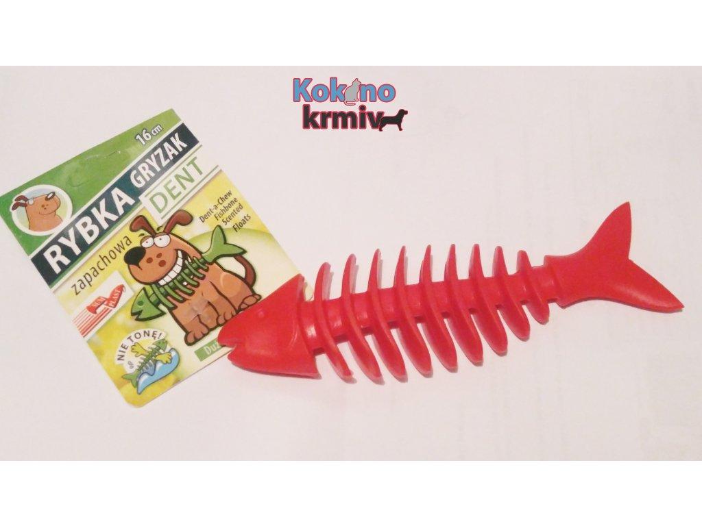 Rybí kostra vonící velká 16cm - ČERVENÁ