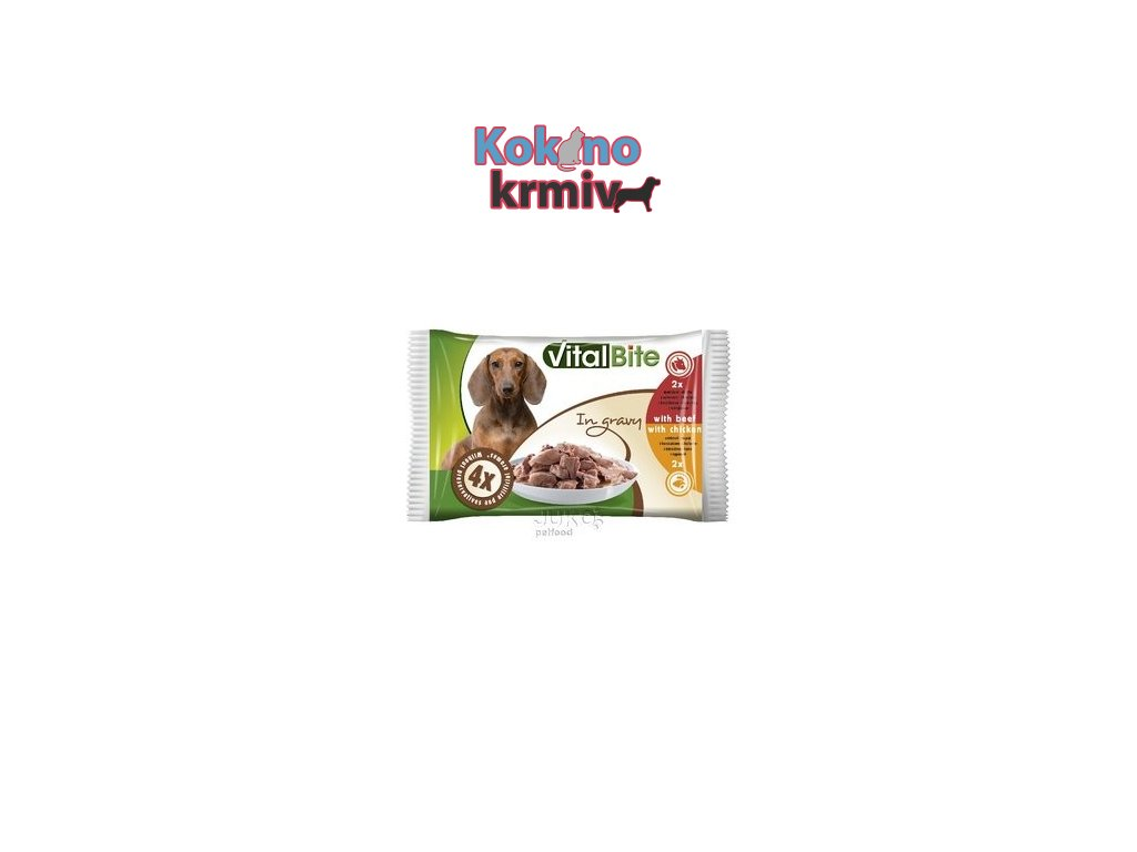 VitalBite kapsa pes 4-pack 85g hovězí+kuřecí