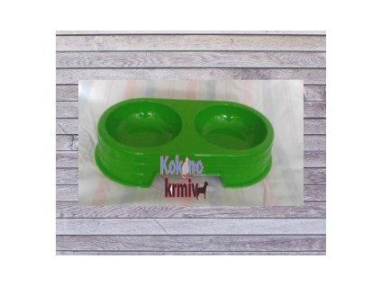 Miska plast-DVOJITÁ-č.2-2x300ml - zelená