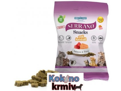 Serrano Snack for Cat-Salmon&Tuna-AntiHairball 50g