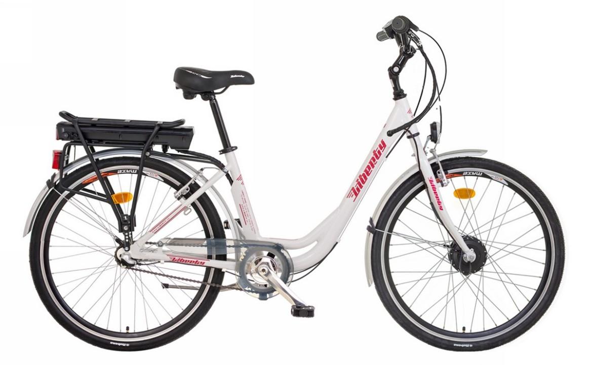 Elektrokolo LIBERTY e-VIA 3 rychlostní, 36V Barva: Bílá, vidlice: pevná, baterie Li-ion: 10Ah, Dojezd 40 -60km