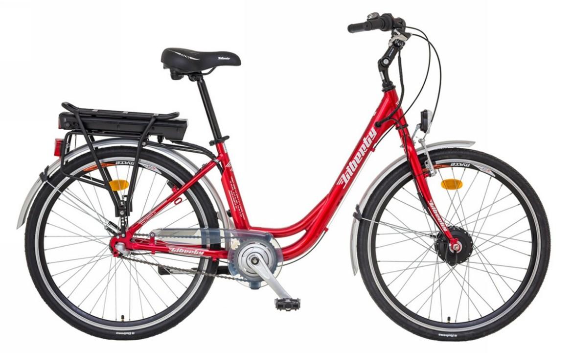 Elektrokolo LIBERTY e-VIA 3 rychlostní, 36V Barva: červená, vidlice: pevná, baterie Li-ion: 10Ah, Dojezd 40 -60km