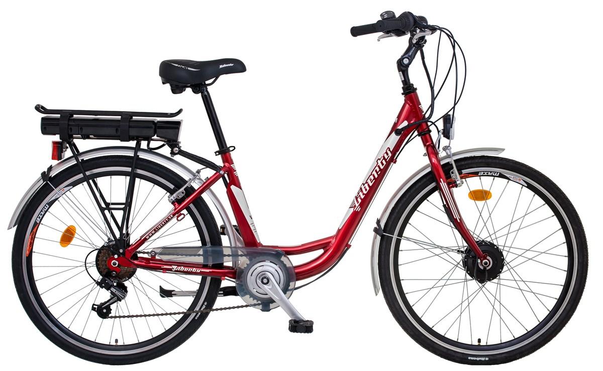 Elektrokolo LIBERTY e-VIA 6spd 36V přední pohon Barva: červená, vidlice: pevná, baterie Li-ion: 10Ah, Dojezd 40 -60km