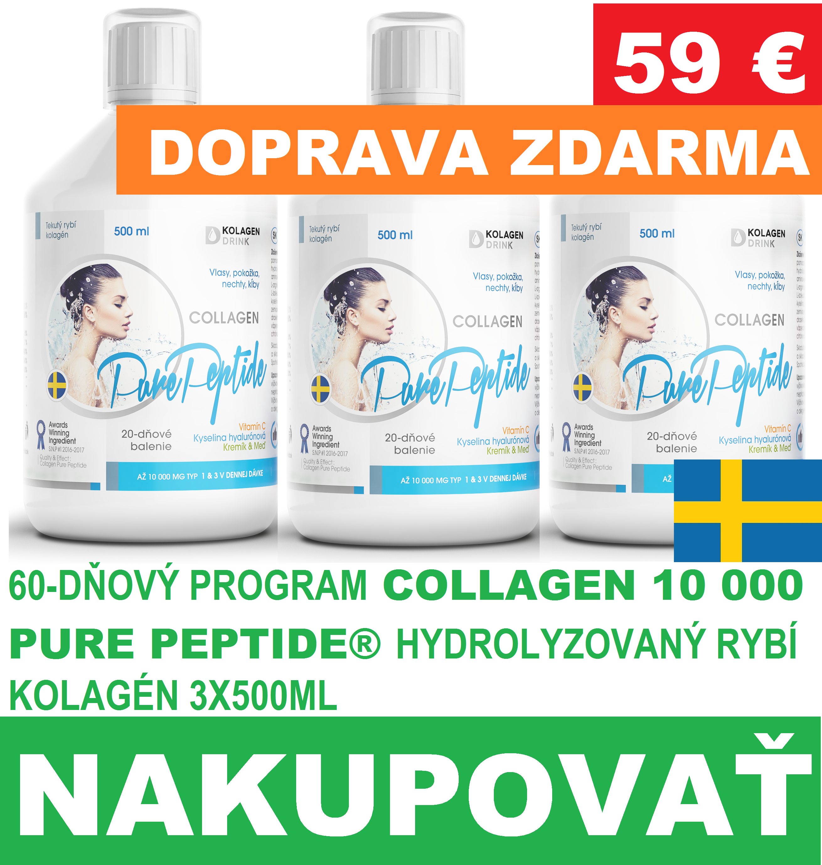 AKCIA 60-dnovy program KolagenDrink Collagen 10 000 fish Liquid SK 1-2