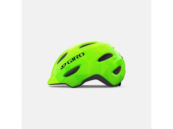 giro scamp youth helmet green lime lines left