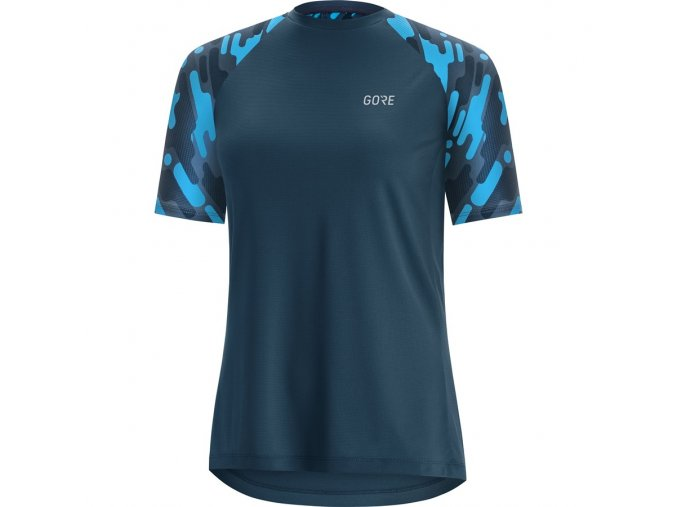 GORE C5 Women Trail Short Sleeve Jersey deep water blue dynamic cyan