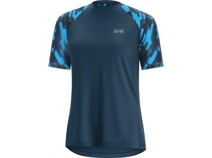 GORE C5 Women Trail Short Sleeve Jersey deep water blue dynamic cyan