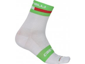 cs17040 castelli volo 9 sock white pro green front