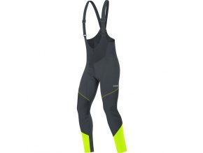 Gore C3 Windstopper Bib Tights+ black/neon yellow front
