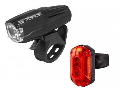 světla sada FORCE VARIO USB přední+zadní