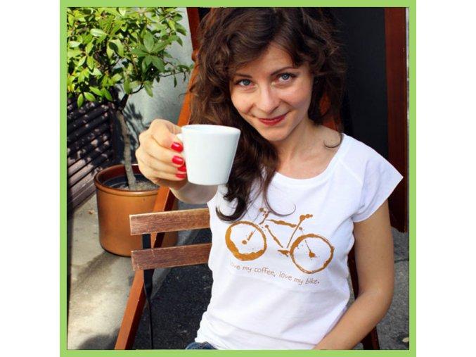T shirt Bike and coffee woman