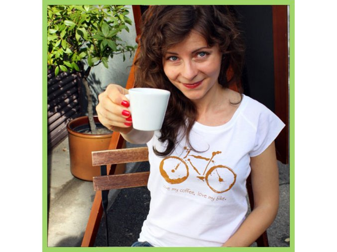 T shirt Bike and coffee woman