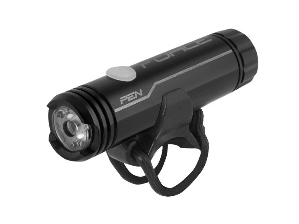 světlo přední FORCE PEN 200LM USB,černé