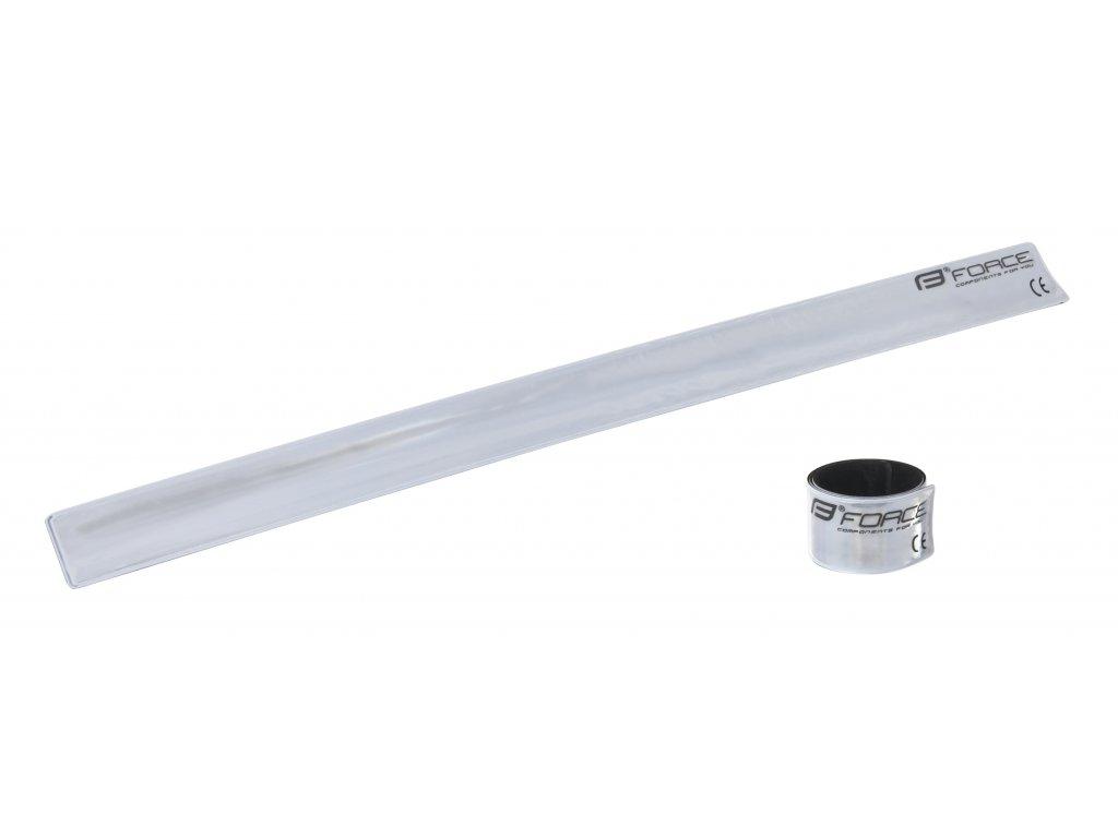 pásek FORCE samonavíjecí 38 cm, stříbrný