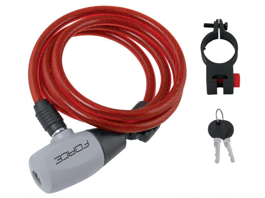 zámek F RON spirálový s držákem 120cm/8mm, červený