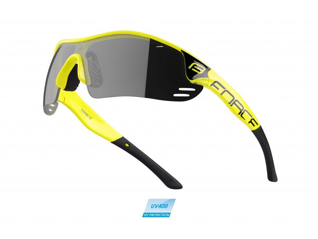 brýle FORCE RACE PRO fluo, černá laser skla