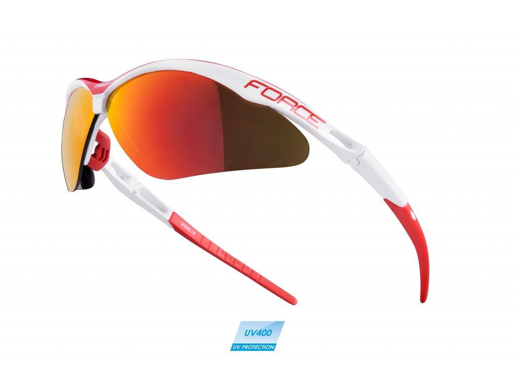 brýle FORCE AIR bílo-červené, červená laser skla