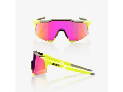 100 bryle speedcraft polished black fluorescent yellow purple multilayer mirror lens