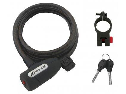 zámek F LUX spirálový s držákem 150cm/10mm, černý