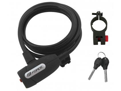 zámek F LUX spirálový s držákem 180cm/8mm, černý