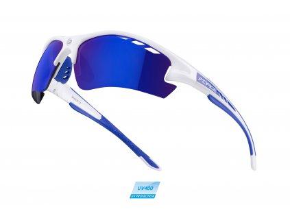 brýle F RIDE PRO bílé diop.klip,modrá laser skla