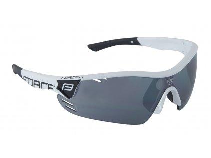 brýle FORCE RACE PRO bílo-černé, černá laser skla