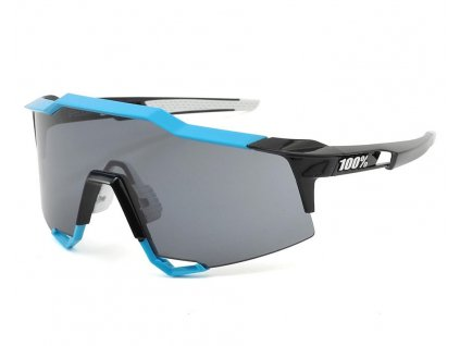 100% Speedcraft Sunglasses (Cyan/Black) (Long Smoke Lens)