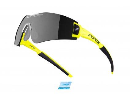 brýle FORCE FLASH, fluo-černé, černá skla