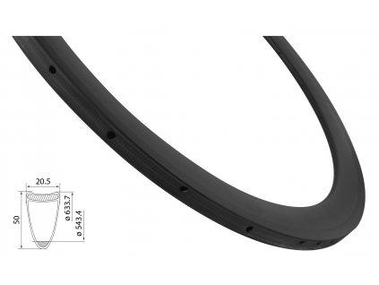 ráfek silniční galuskový KARBON 50mm, 24děr