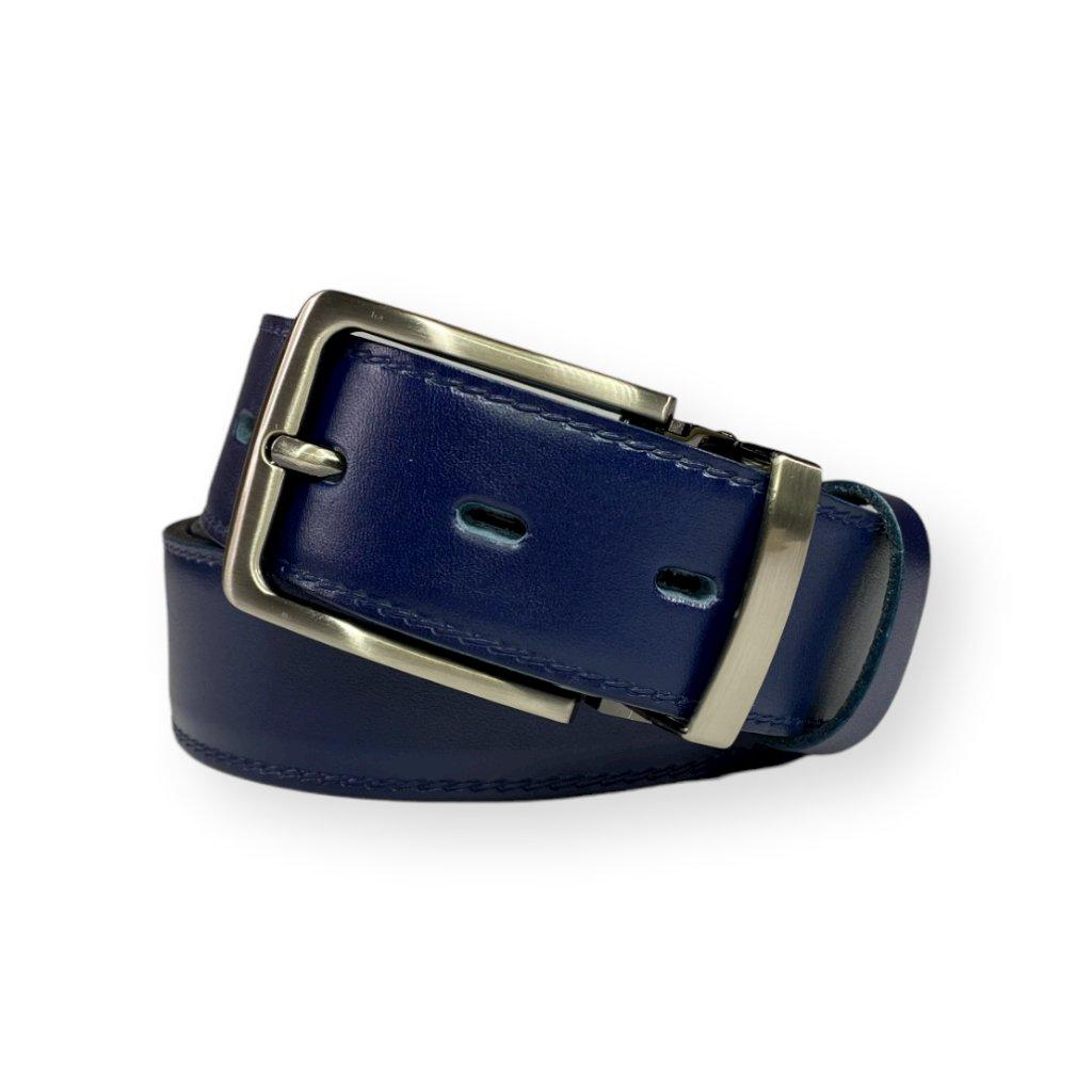 Modrý kožený opasek