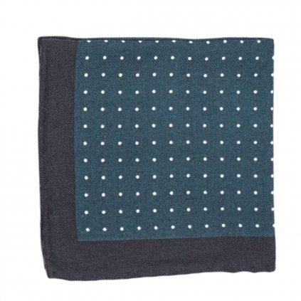Zelený vlněný kapesníček s puntíky