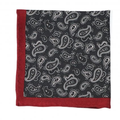 Tmavě šedivý vlněný kapesníček s paisley